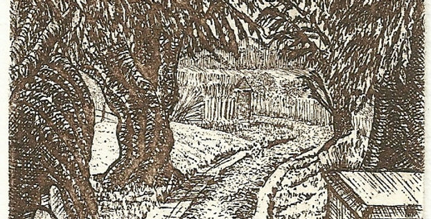 An etching of the path at Bentley Church Hampshire