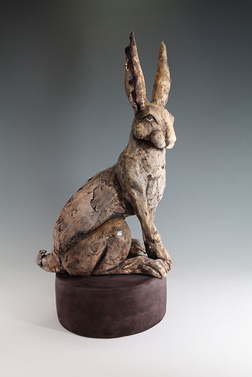 Hare on stand - finished with oxides and coloured slips