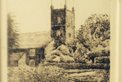 Etching of Froyle Church