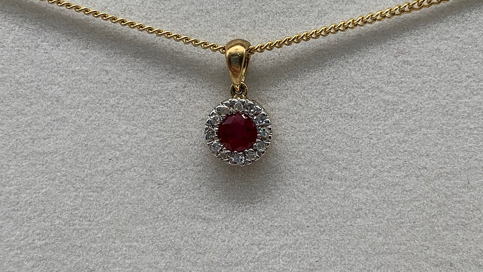 9ct yellow gold Ruby & Diamond necklace