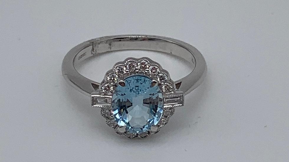 18ct white gold Aquamarine & Diamond