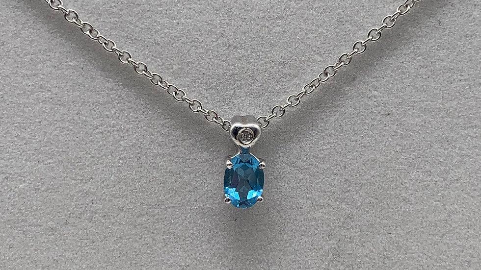 9ct white gold Diamond & Topaz necklace