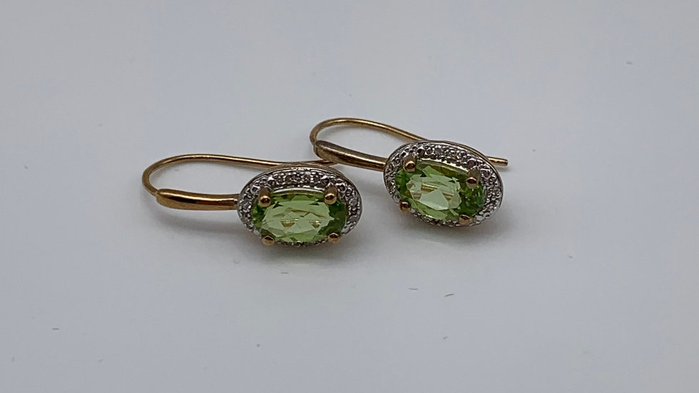 9ct yellow gold Diamond & Peridot earrings