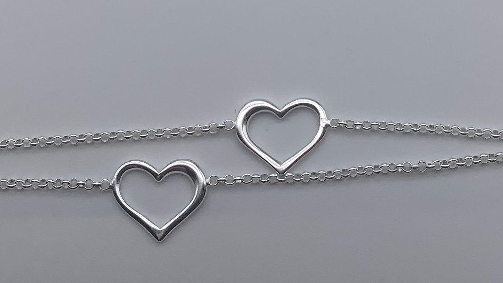 Silver double heart chain bracelet