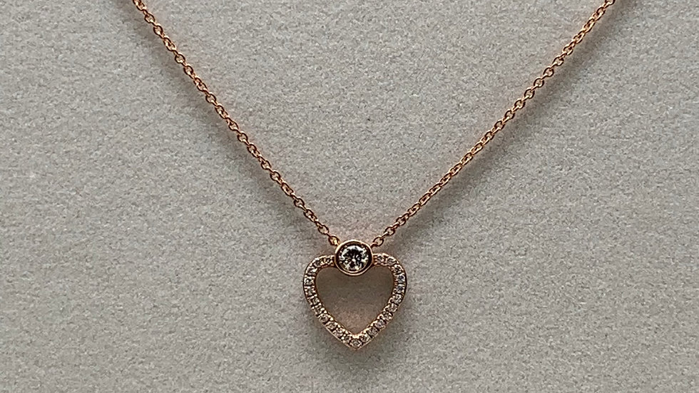 9ct rose gold Diamond heart necklace