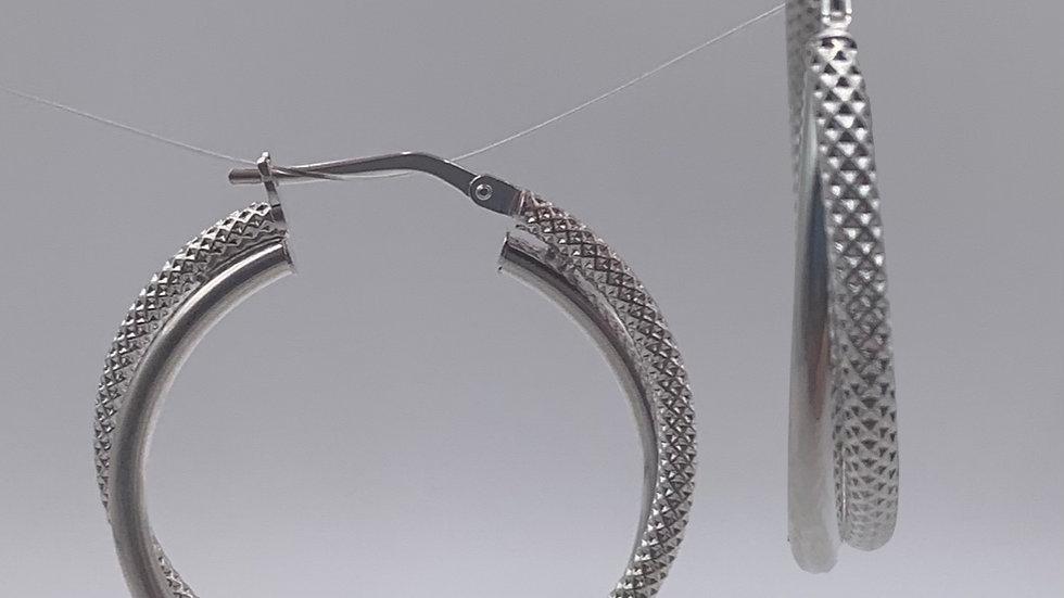 Silver plain/textured twist hoops