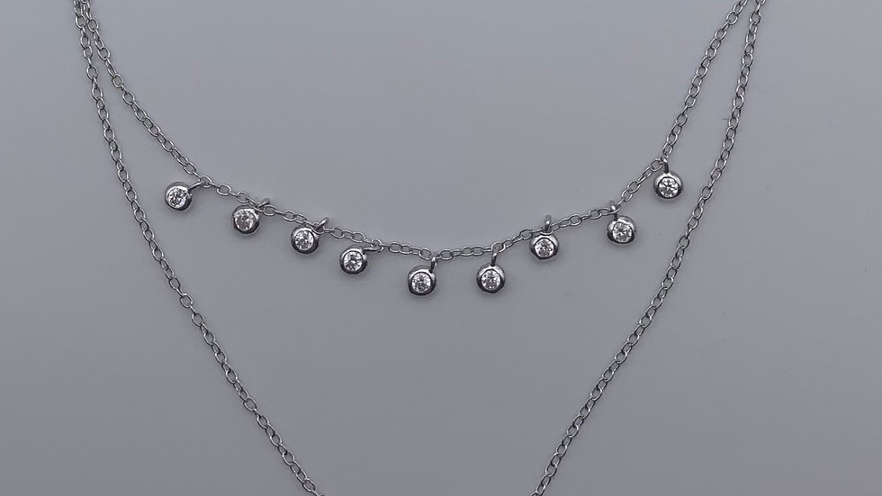 Silver double chain and Cubic Zirconia necklace