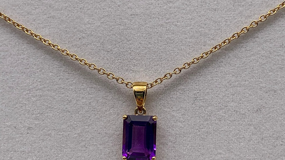 Preowned 9ct yellow gold Amethyst necklace