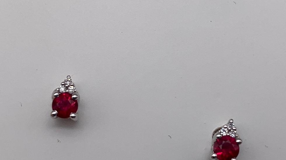 18ct white gold Ruby & Diamond studs