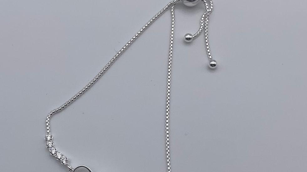 Silver Cubic Zirconia infinity slide bracelet