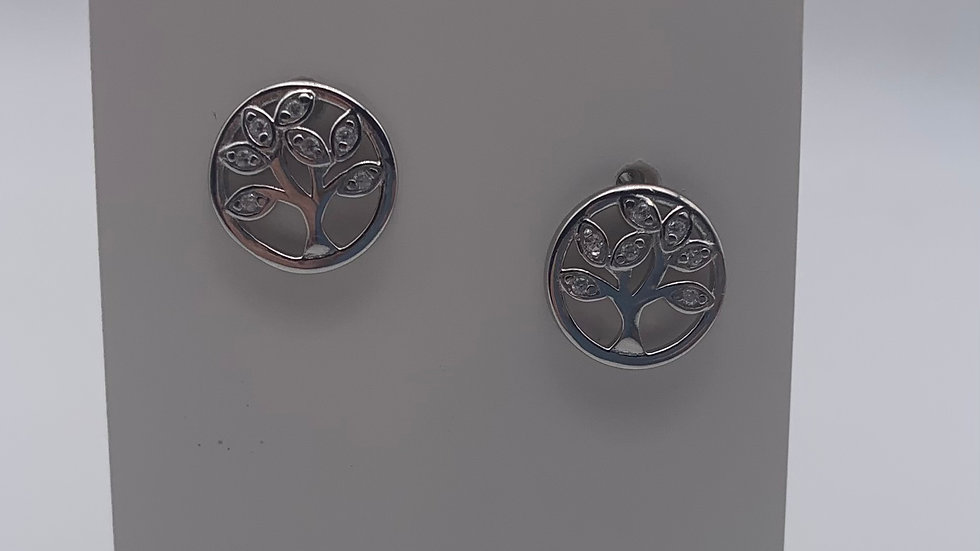 Silver Cubic Zirconia tree of life circle studs