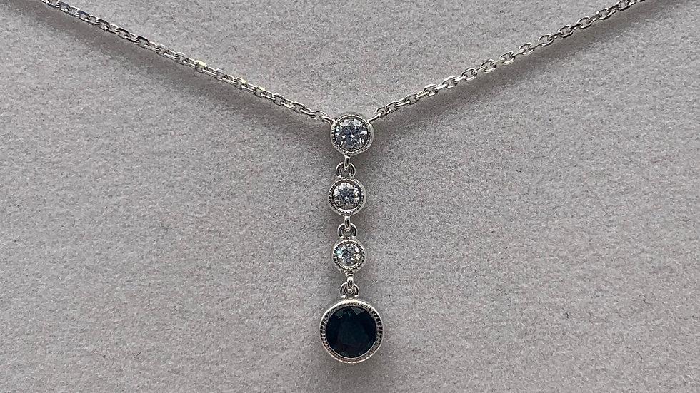 9ct white gold Sapphire & Diamond necklace