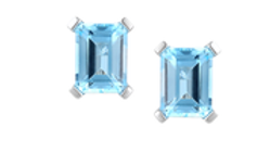 Silver and blue Topaz/Cubic Zirconia octagon earrings