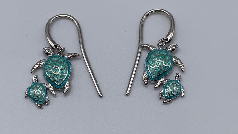 silver Enamel earrings