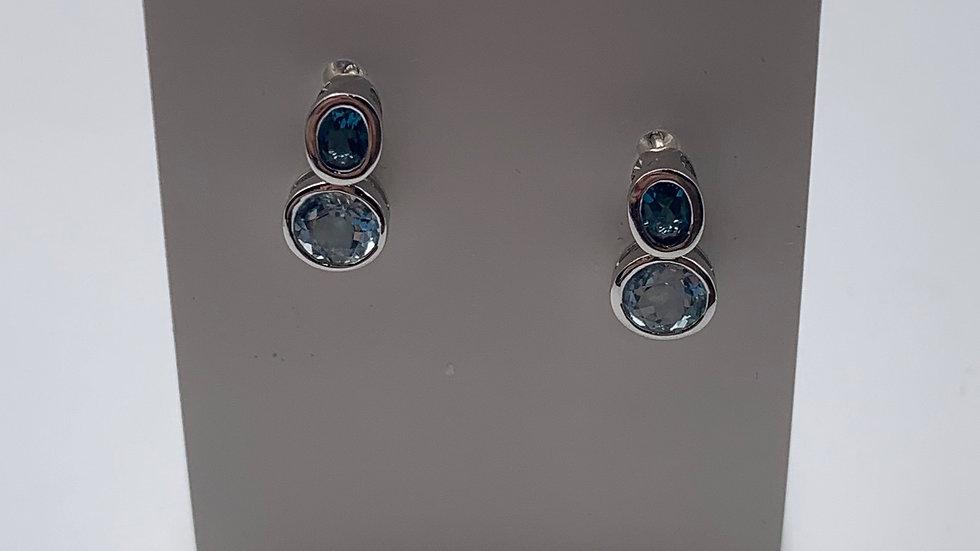 9ct white gold Topaz earrings