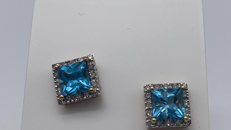 9ct yellow gold Topaz & Diamond earrings