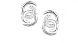 Silver double curl earrings