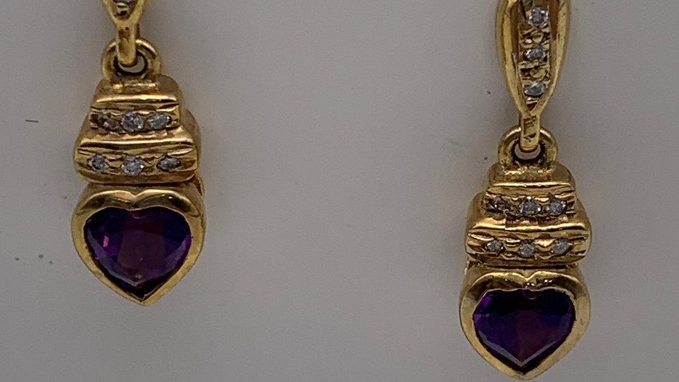 9ct yellow gold Diamond & Amethyst drop studs