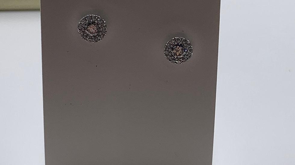 9ct white gold Diamond cluster studs