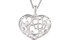 Silver Fretwork heart necklace