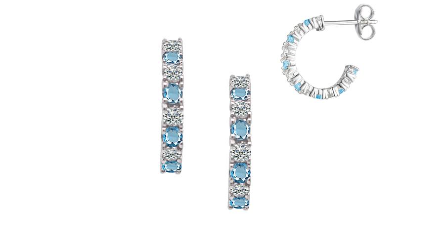 Silver claw set hoop earrings