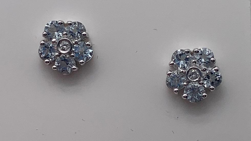 9ct white gold Topaz & Diamond earrings