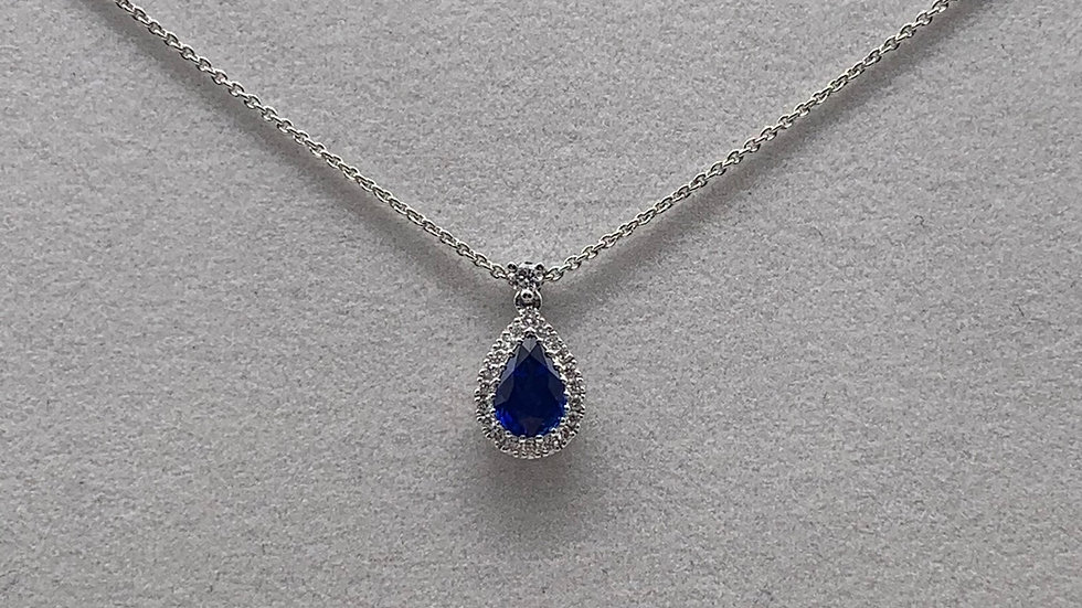 18ct white gold Sapphire & Diamond necklace