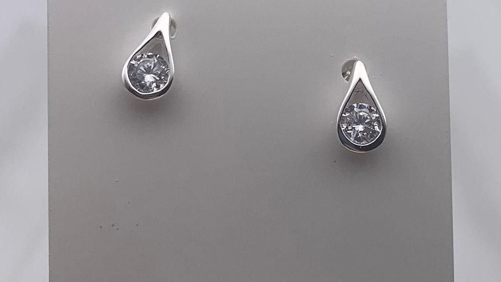 Silver Cubic Zirconia teardrop studs