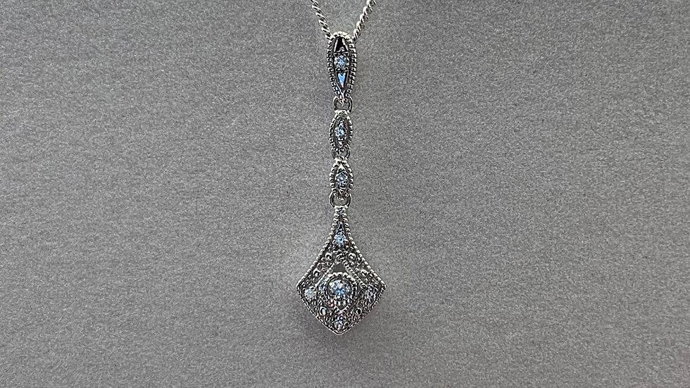 9ct white gold Diamond drop necklace
