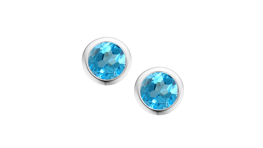 Silver round Blue Topaz rub over stud earrings