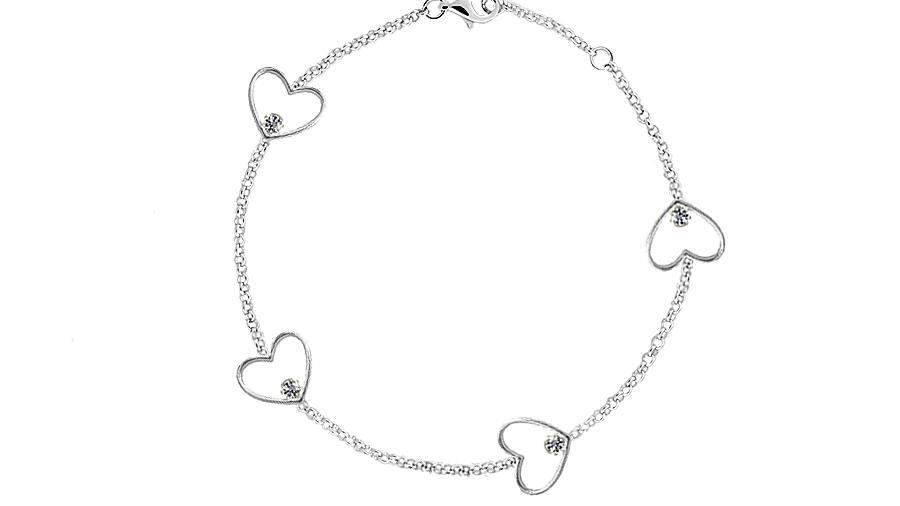 """Silver Cubic Zirconia 7.5"""" heart bracelet"""
