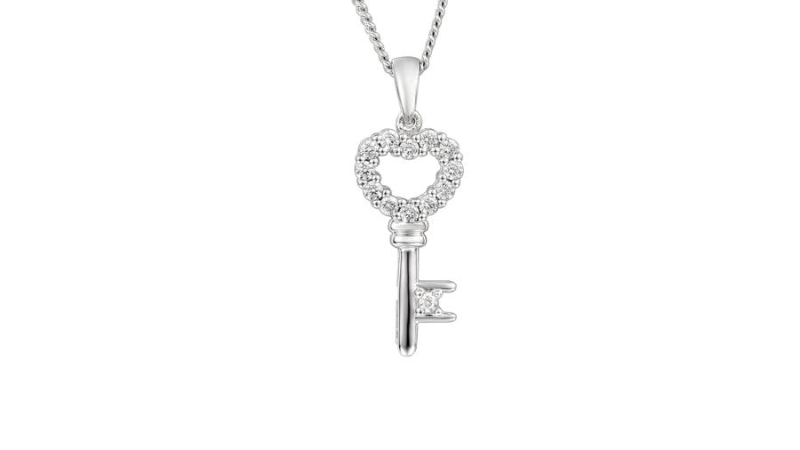 Silver Cubic Zirconia claw set key necklace