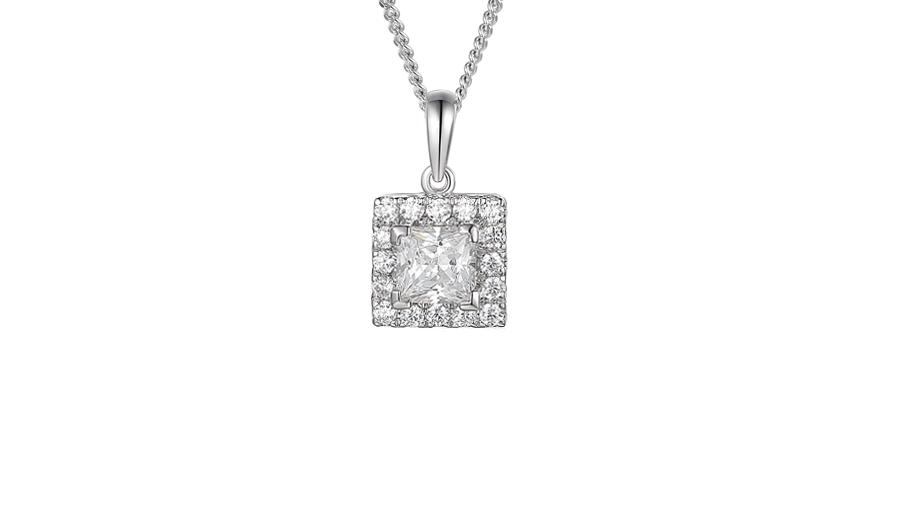 Silver square halo cluster necklace