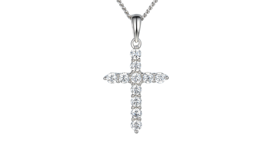 Silver claw set Cubic Zirconia cross necklace