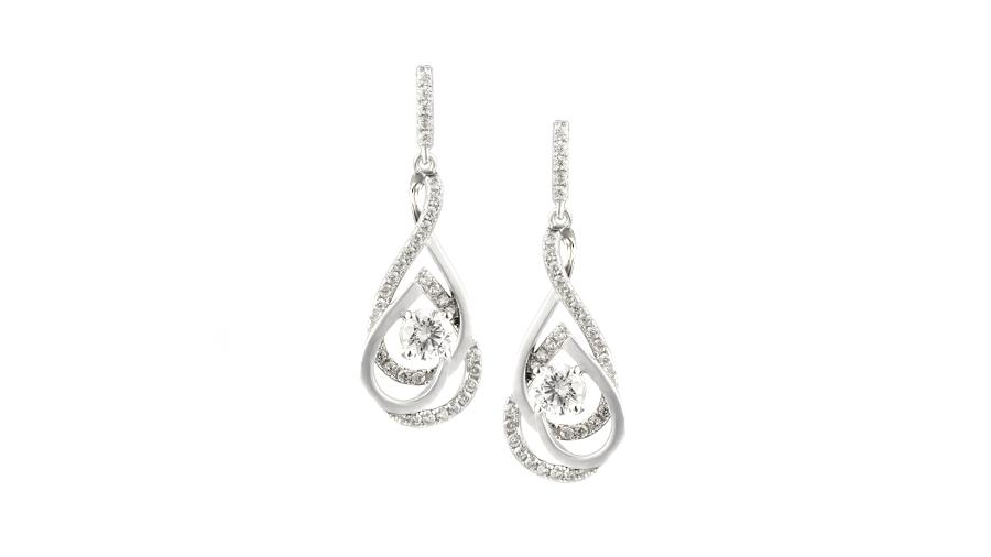 Silver Cubic Zirconia double teardrop earrings