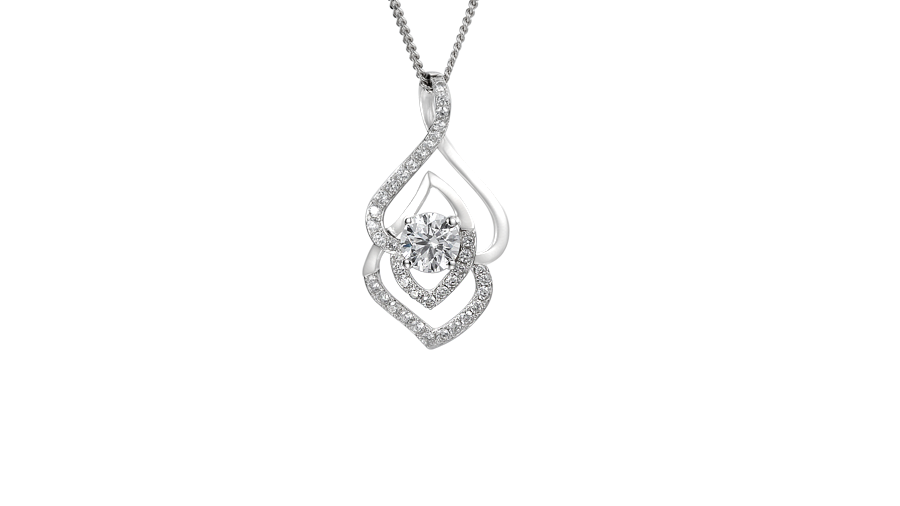 Silver Cubic Zirconia twist necklace