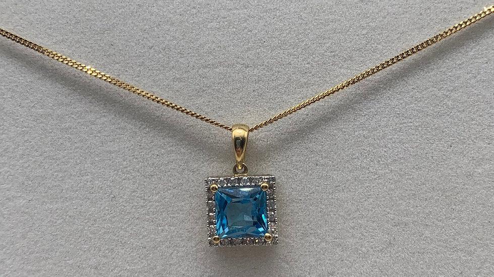 9ct yellow gold Topaz & Diamond necklace