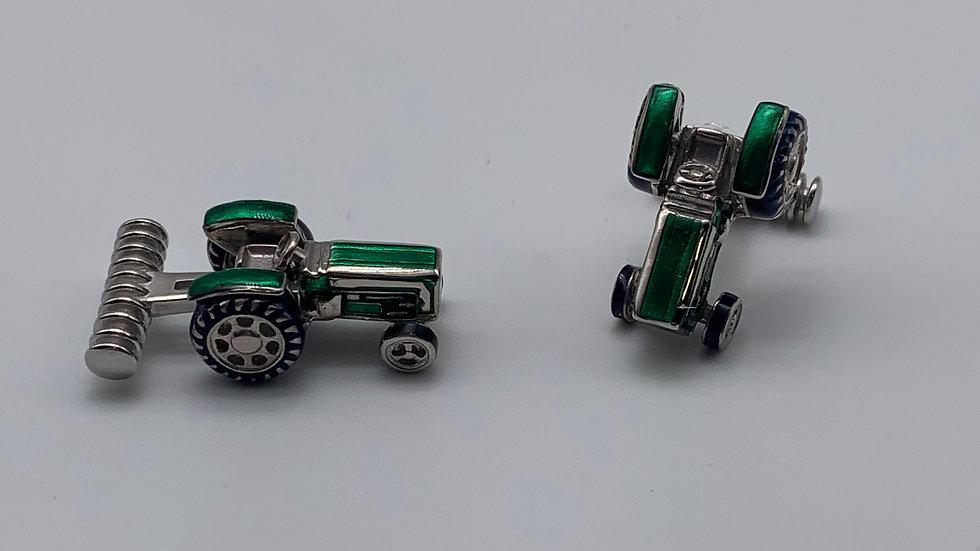 silver & Enamel tractor cufflinks