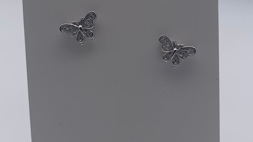 Silver small Cubic Zirconia vintage butterfly studs