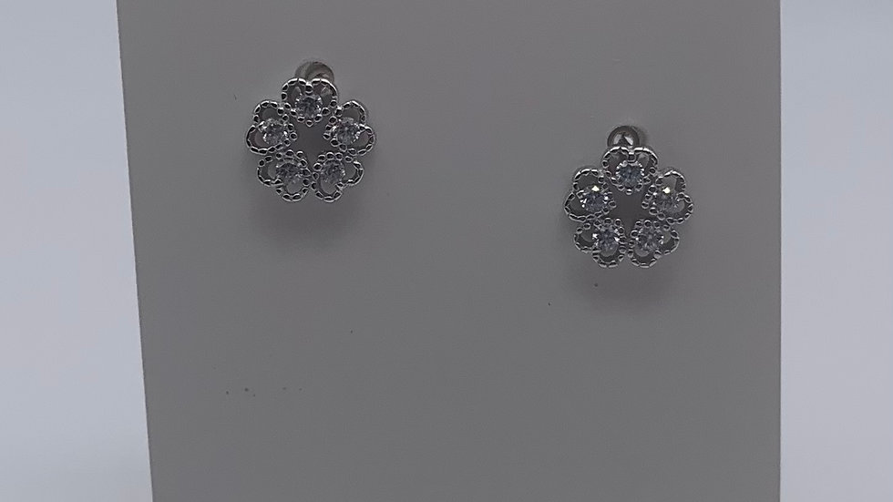 Silver Cubic Zirconia circle heart studs
