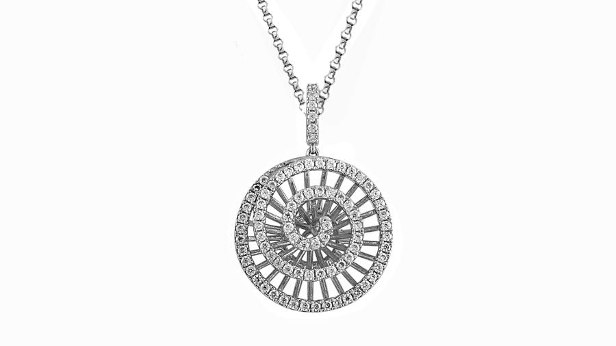 Silver Cubic Zirconia spiral necklace