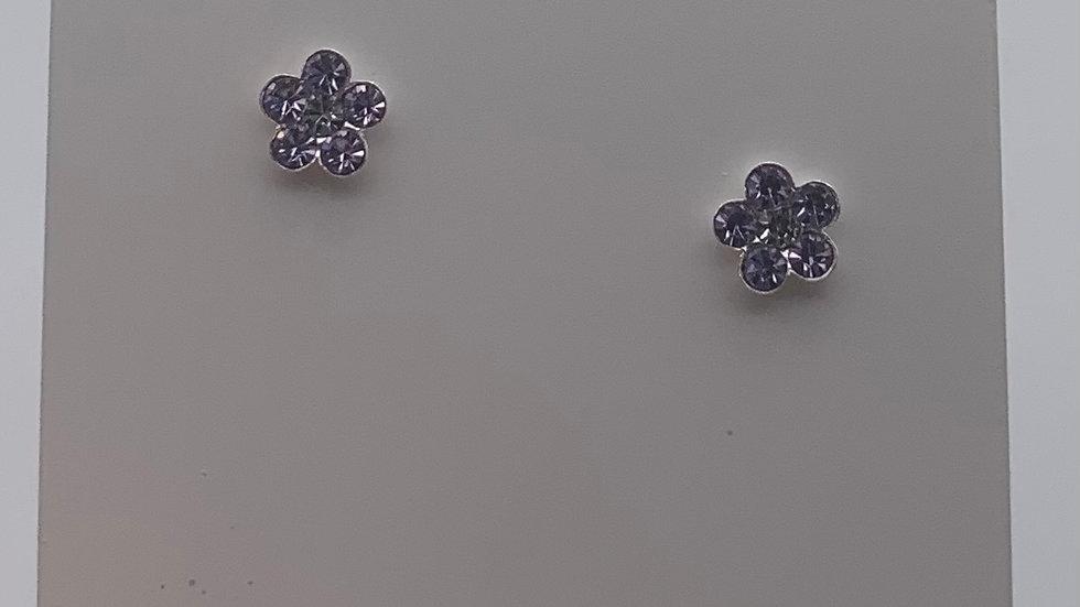 Silver lavender Crystal flower studs