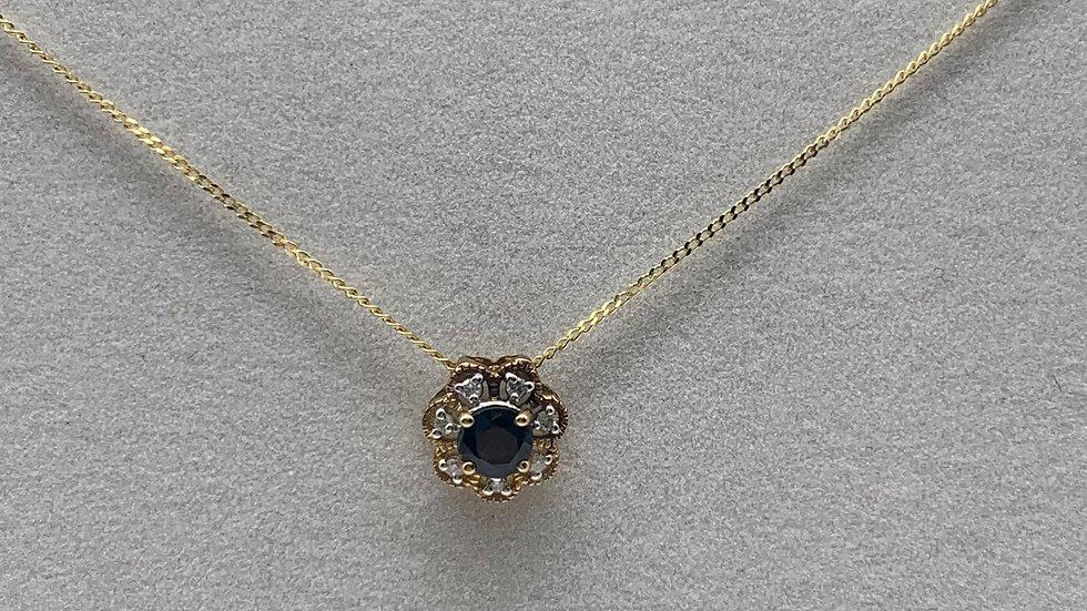 9ct yellow gold Sapphire & Diamond necklace