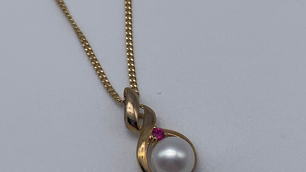 9ct yellow gold Cultured Pearl & Ruby necklace