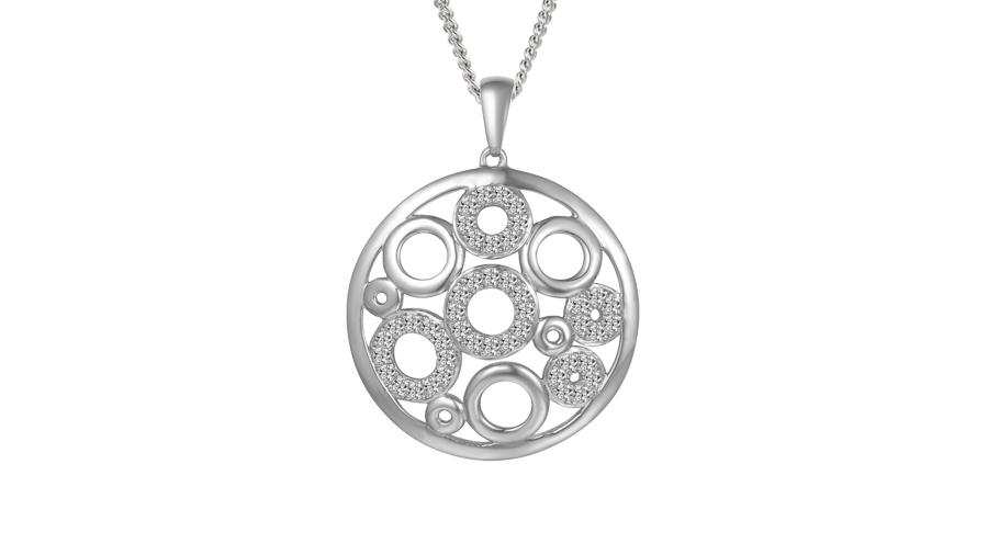 Silver multi circle necklace