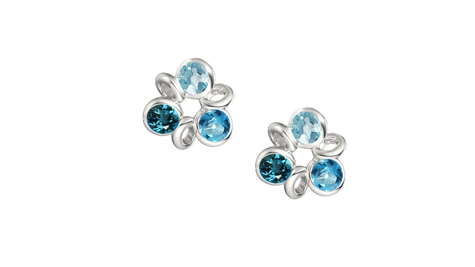 Silver 3 colour Blue Topaz flower earrings