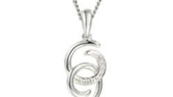 Silver double curl necklace
