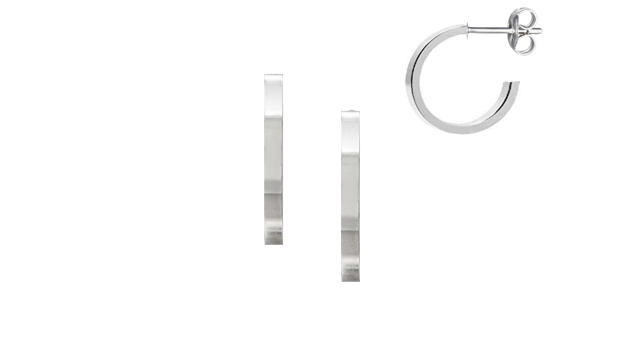 Silver plain hoops square