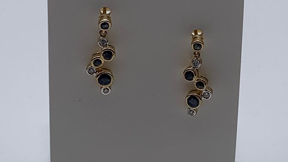 9ct yellow gold Sapphire & Diamond earrings
