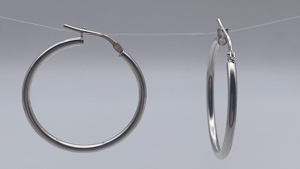 Silver lightweight plain hoops